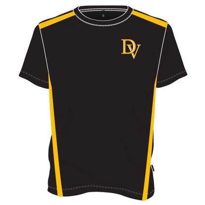 Image de T-shirt col rond deux tons - Education physique (Noir/jaune)